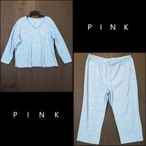 Pink Pajama Women Sleep Wear Fleece Set Size 2X